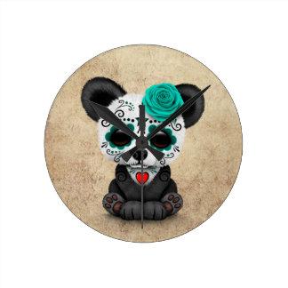 Blue Day of the Dead Sugar Skull Panda Aged Clock