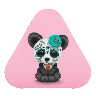 Blue Day of the Dead Sugar Skull Panda on Pink