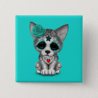 Blue Day of the Dead Wolf Cub 15 Cm Square Badge