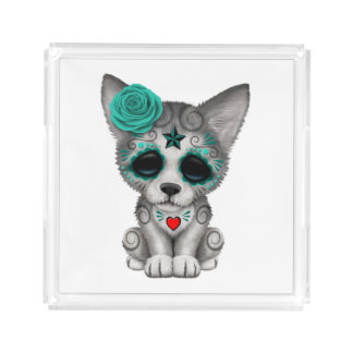 Blue Day of the Dead Wolf Cub Acrylic Tray