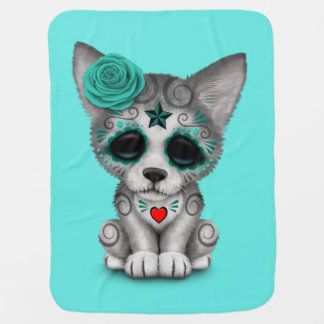 Blue Day of the Dead Wolf Cub Baby Blanket
