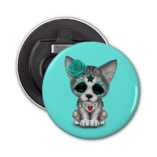Blue Day of the Dead Wolf Cub Bottle Opener