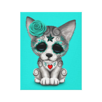 Blue Day of the Dead Wolf Cub Canvas Print