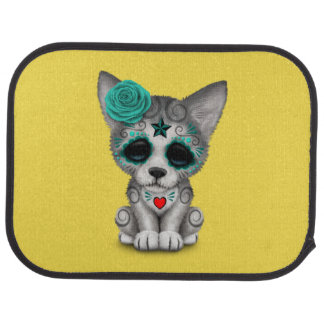 Blue Day of the Dead Wolf Cub Car Mat