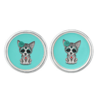 Blue Day of the Dead Wolf Cub Cuff Links