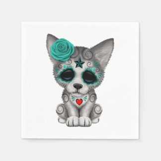 Blue Day of the Dead Wolf Cub Disposable Napkin