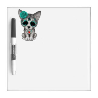Blue Day of the Dead Wolf Cub Dry Erase Board