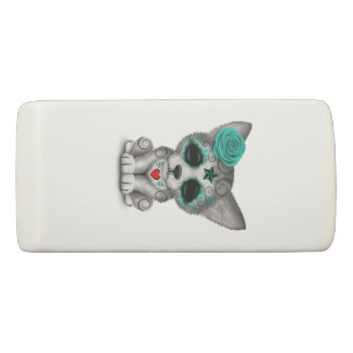 Blue Day of the Dead Wolf Cub Eraser