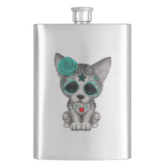 Blue Day of the Dead Wolf Cub Hip Flask
