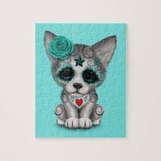 Blue Day of the Dead Wolf Cub Jigsaw Puzzle