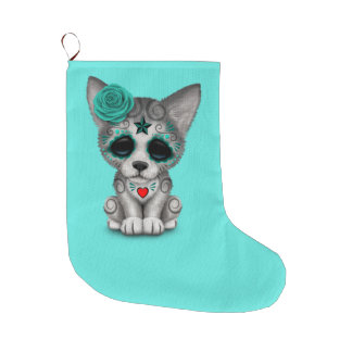 Blue Day of the Dead Wolf Cub Large Christmas Stocking