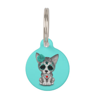Blue Day of the Dead Wolf Cub Pet Tag