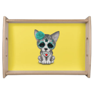 Blue Day of the Dead Wolf Cub Serving Tray