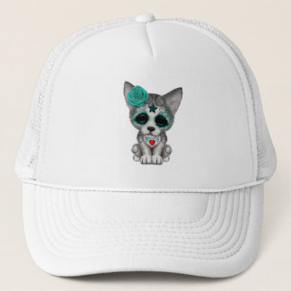 Blue Day of the Dead Wolf Cub Trucker Hat