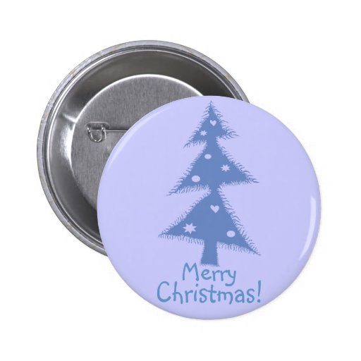 blue decorated christmas tree pinback button