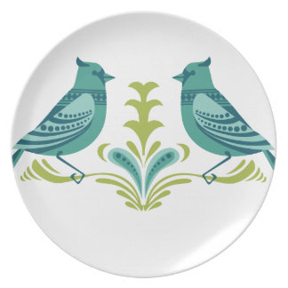 Blue Decorative Birds Plate