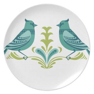 Blue Decorative Birds Party Plate