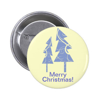 blue decorative Christmas trees Pinback Buttons