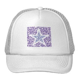 blue decorative floral star hats