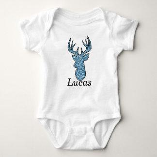 blue deer head baby bodysuit