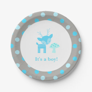 Blue Deer Polka Dot Baby Shower Paper Plate
