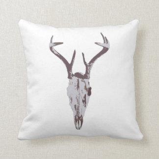 Blue Deer Skull Throw Pillow