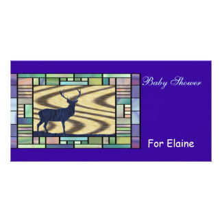 Blue Deer Stained Glass Personalized Photo Card