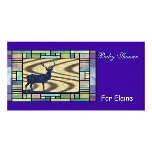 Blue Deer Stained Glass Photo Cards