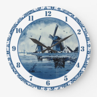 Blue Delft Blue Windmill Large Clock