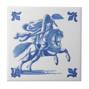 Retro Ceramic Decorative Tile Horse Racing Jumping Stallion Old French Vintage