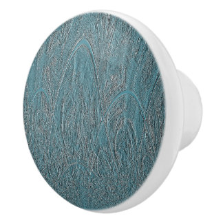 Blue Delicate Ornamental Hilly Forest Relief Ceramic Knob