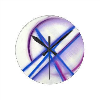 Blue Delineation Design Round Clock