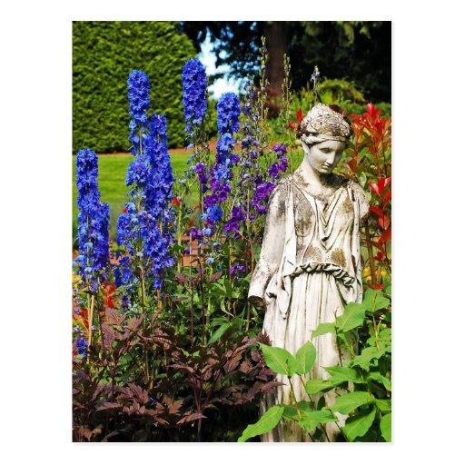 Blue delphinium flower garden and goddess statue post cards