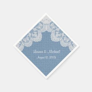 Blue Denim and Lace Wedding Disposable Serviette