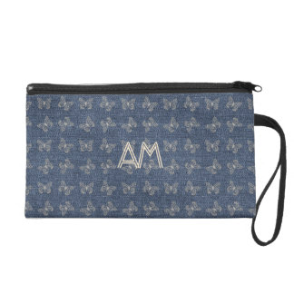 Blue Denim Butterflies Pattern Add Initials Bag
