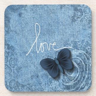 Blue Denim Butterfly Love Beverage Coasters