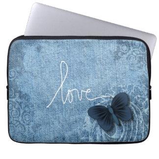 Blue Denim Butterfly Love Laptop Sleeve