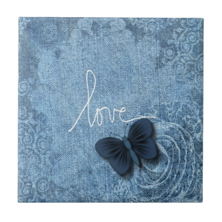 Blue Denim Butterfly Love of Nature Small Square Tile