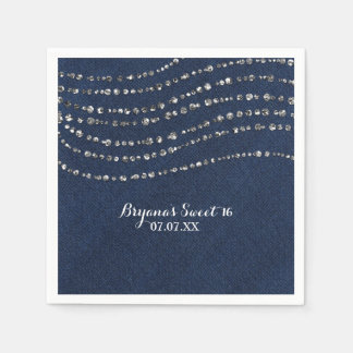 Blue Denim & Diamonds Sparkle Bling Birthday Party Disposable Serviette