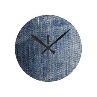 blue denim jeans fabric texture round clock