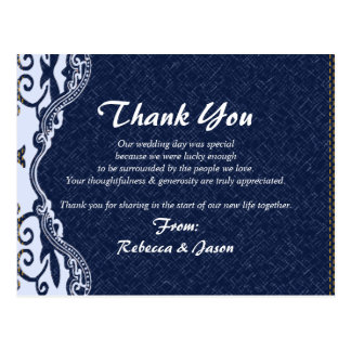 blue denim lace country wedding thank you postcard