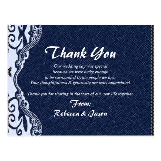 blue denim lace country wedding thank you postcard