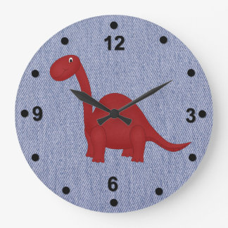 Blue Denim Look & Dinosaur Kid's Clock