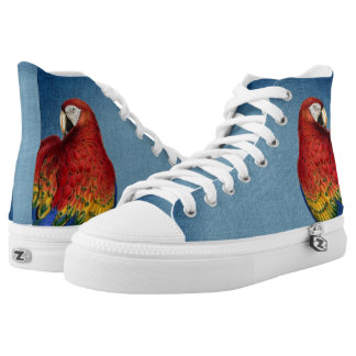 Blue Denim Look with Rainbow Macaw Parrot Printed Shoes
