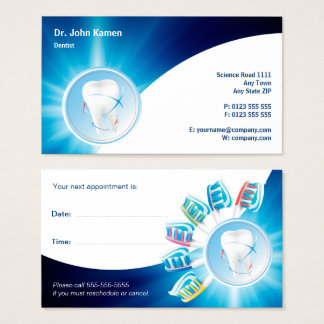 Blue Dental Appointment Card | Personalise Dentist