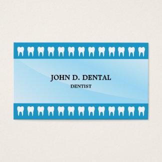 Blue dentist, dental business card with teeth