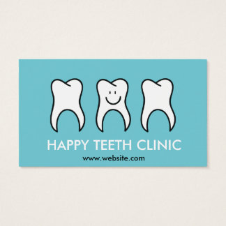 Blue dentist Dental clinic with happy tooth mascot Business Card