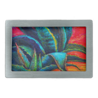 BLUE DESERT AGAVE RED DAWN DESIGN BELT BUCKLE