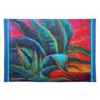 BLUE DESERT AGAVE RED DAWN DESIGN PLACEMAT