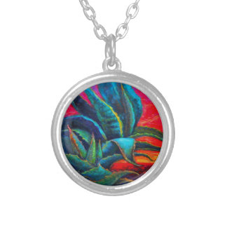 BLUE DESERT AGAVE RED DAWN DESIGN SILVER PLATED NECKLACE